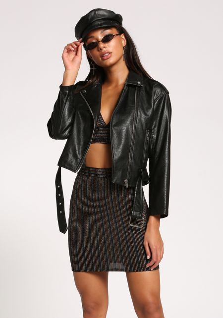 Black Faux Leather Belted Moto Jacket