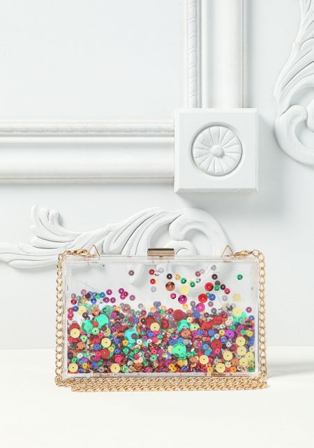 Clear Sequin Stud Clutch