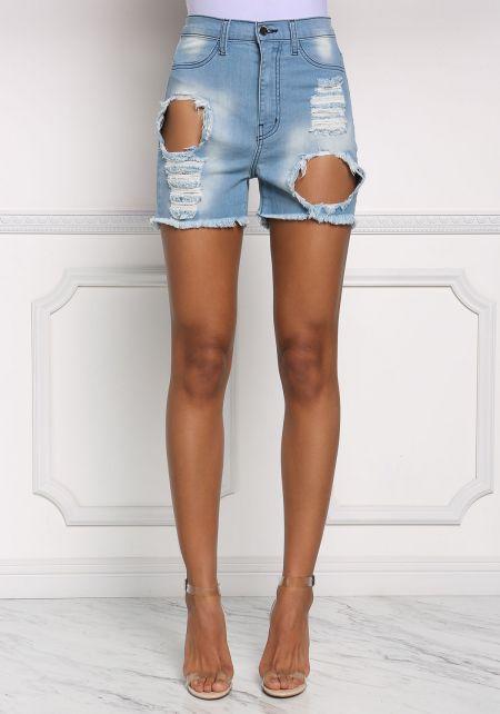 Light Denim High Waist Bermuda Shorts