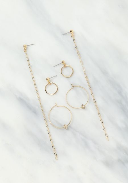 Gold Circle & Chain Earring Set