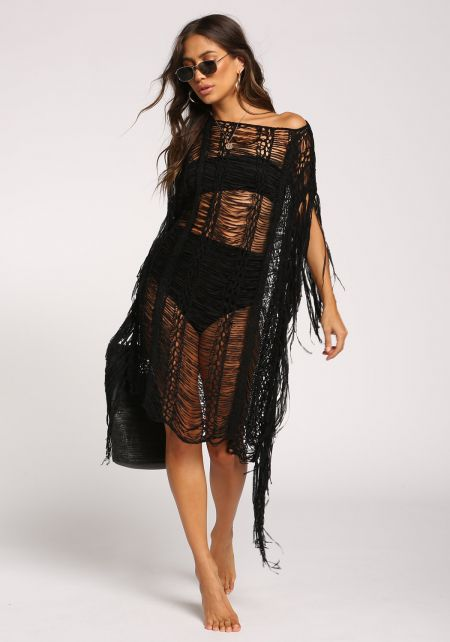 Black Frayed Fringe Cover Up Dress
