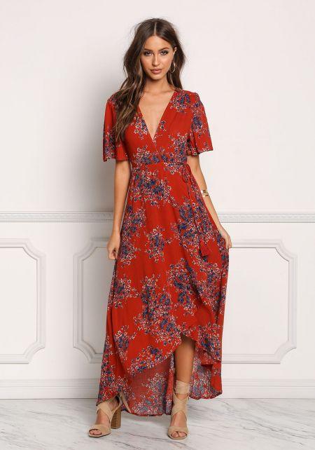 Rust Floral Crepe Hi-Lo Maxi Dress