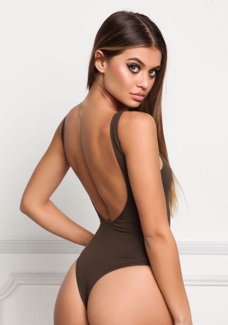 Olive Deep Back Cut Out Bodysuit