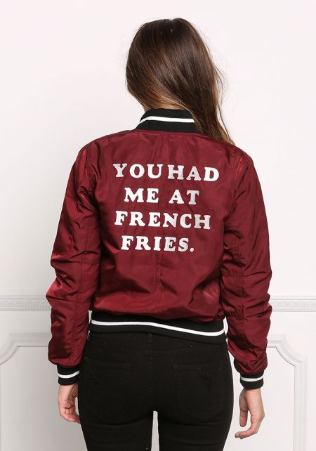 Burgundy You Had Me At French Fries Varsity Bomber Jacket