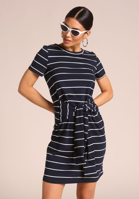Navy Stripe Tie Front Dress