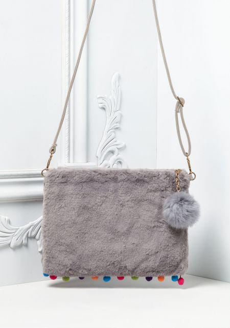 Grey Faux Fur Pom Pom Crossbody Bag
