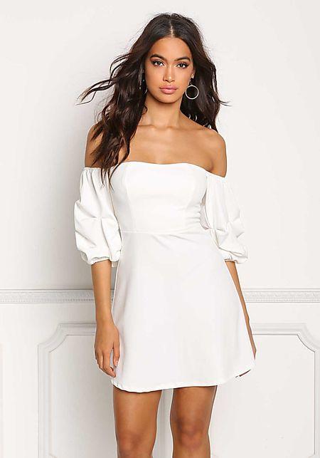 Ivory Off Shoulder Ruched Sleeve Dress