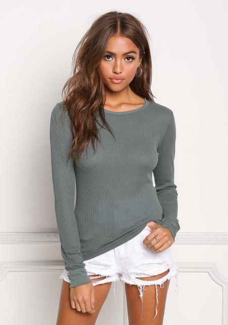 Sage Basic Thermal Pullover Top