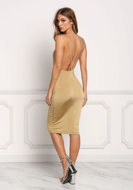 Gold Low Back Double Strap Bodycon Dress