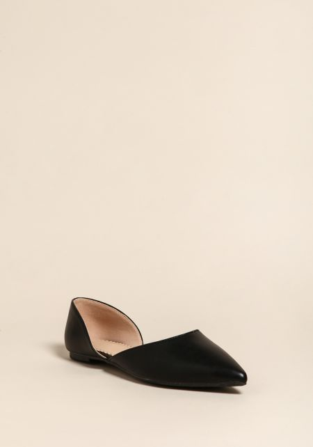 Black Leatherette Pointed Toe Flats