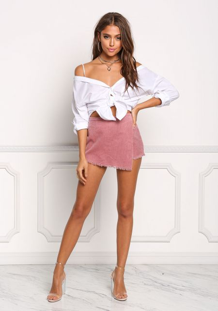 Dusty Pink Corduroy Layered High Rise Skort