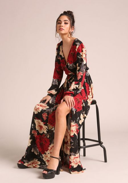 Black Rose Faux Wrap Slit Maxi Dress