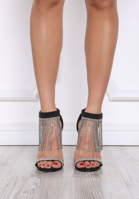 Black Rhinestone Fringe Ankle Strap Heels
