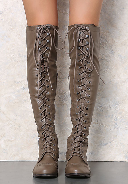Beige Leatherette Lace Up Knee High Boots
