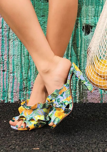 Lilac Floral Ruffle Mule Heels