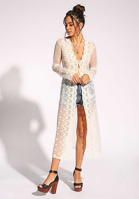 Ivory Mesh Embroidered Pearl Kimono