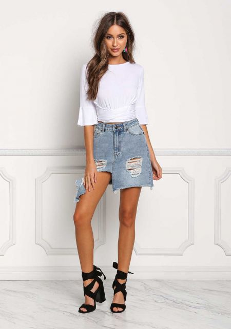 White Jersey Knit Tie Back Crop Top