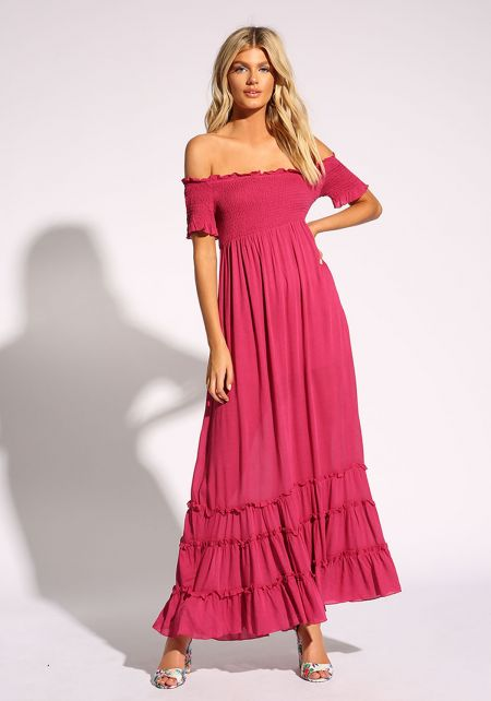 Magenta Smocked Off Shoulder Lace Up Maxi Dress
