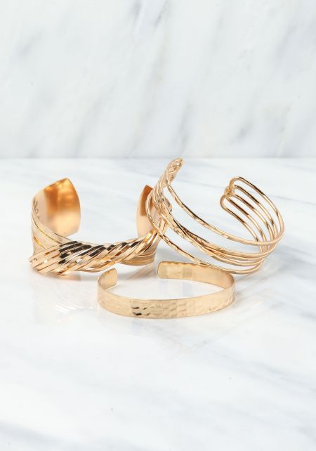 Gold Twisted Assorted Cuff Bracelet Set