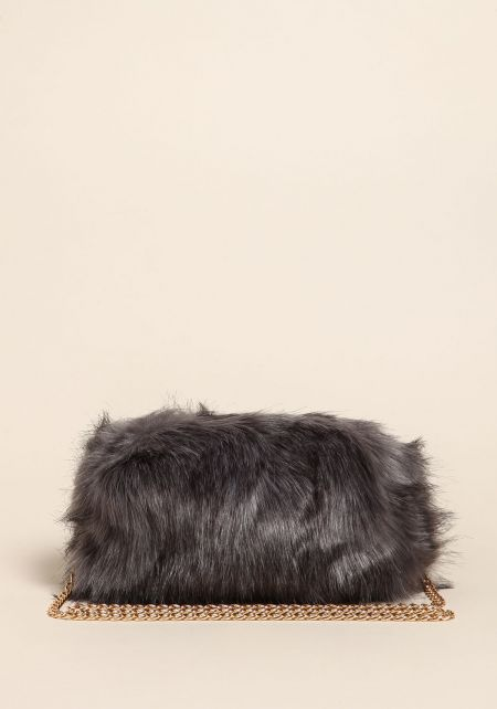 Grey Shaggy Faux Fur Clutch