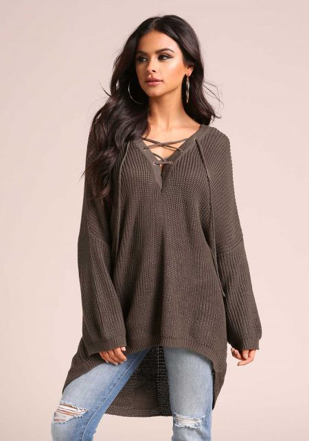 Olive Lace Up Hi-Lo Sweater Top