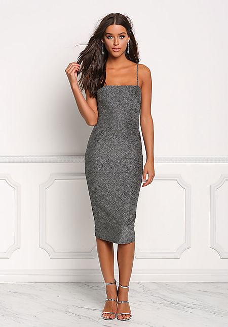 Silver Shimmer Bodycon Dress