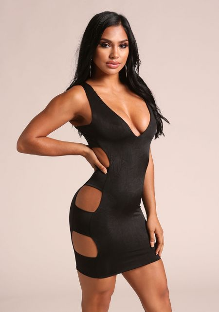 Black Side Cut Out Plunge Bodycon Dress