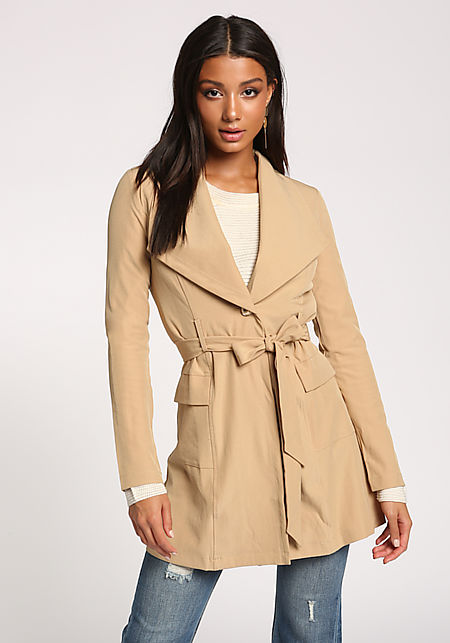 Taupe Single Breasted Pocket Waist Tie Duster Jack