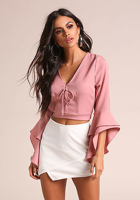 Mauve Lace Up Bell Sleeve Crop Top