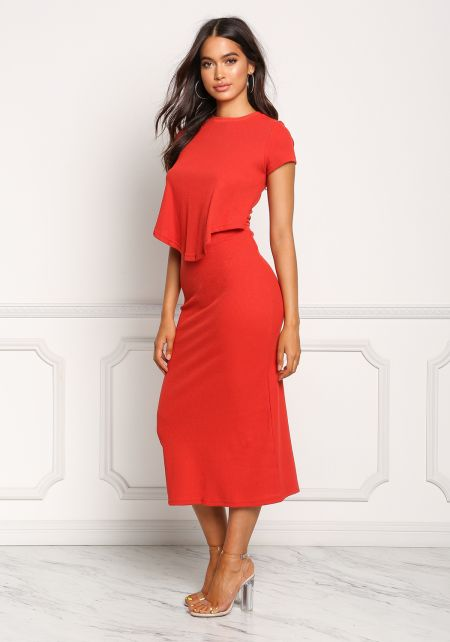 Red Thermal Knit Layered Midi Dress