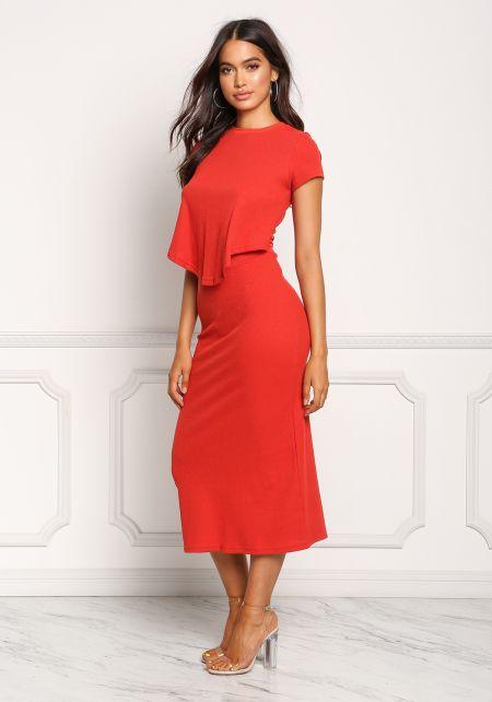 Red Thermal Knit Layered Midi Dress