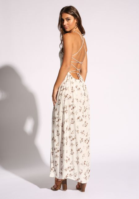 White Back Lace Up Floral Maxi Dress