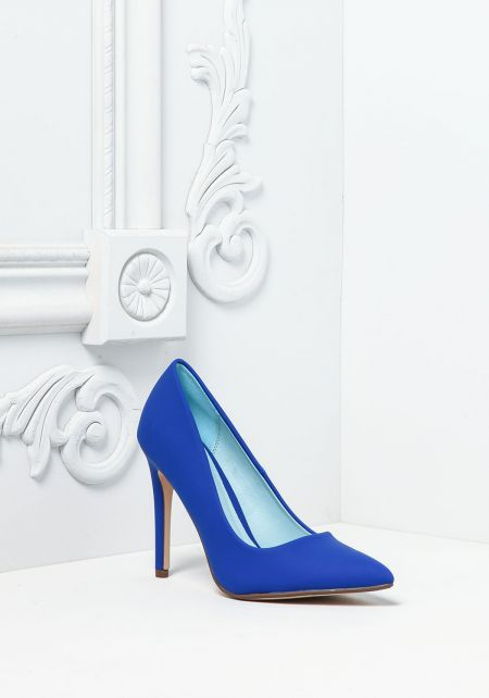 Royal Blue Leatherette Pointed Toe Heels
