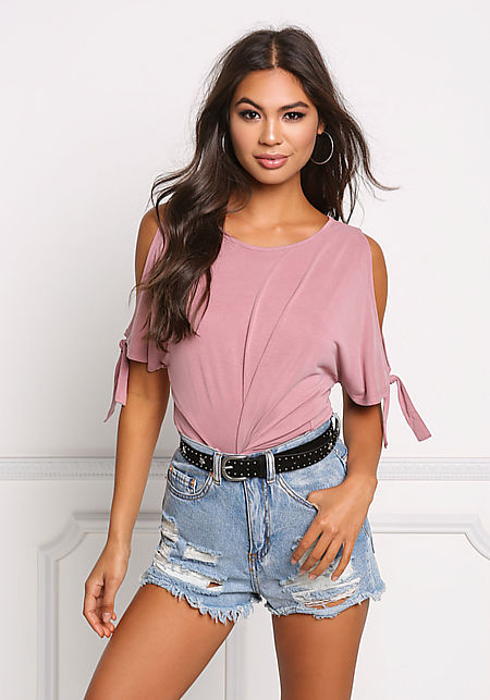 Dusty Pink Cold Shoulder Tied Knit Top