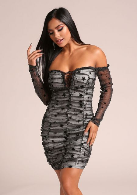 Black Sparkled Mesh Off Shoulder Bodycon Dress