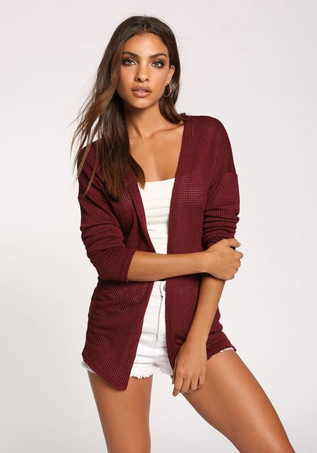 Burgundy Open Front Knitted Cardigan