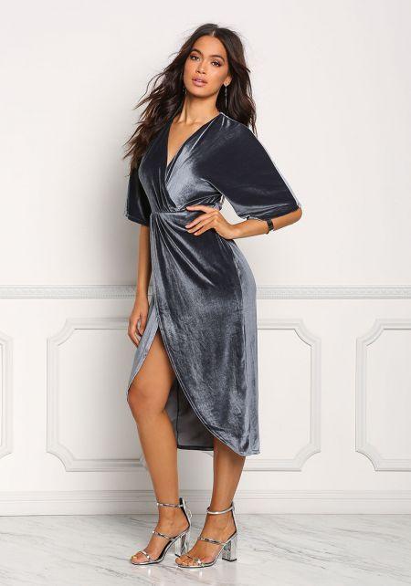 Teal Velvet Draped Slit Midi Dress