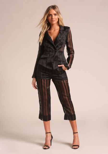 Black Pinstripe Organza Cropped Pants