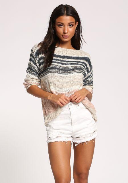 Multi Stripe Purl Knit Sweater Top