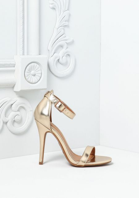 Gold Leatherette Single Ankle Strap Heels