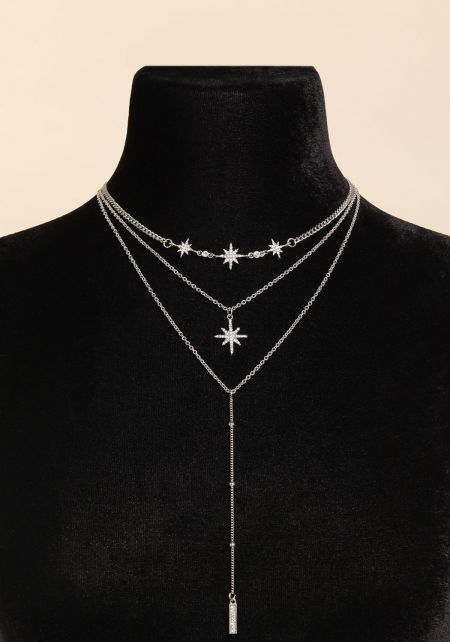 Silver Rhinestone Star Delicate Drop Necklace