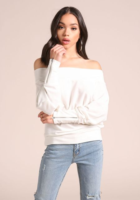 Ivory Off Shoulder Zipper Sleeve Top