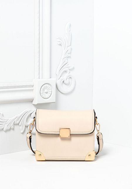 Beige Vegan Leatherette Square Crossbody Bag