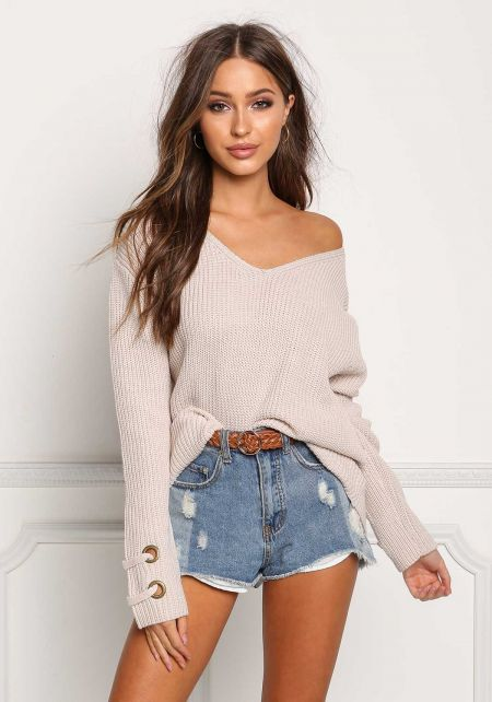 Beige Grommet Sleeve Thick Knit Sweater Top