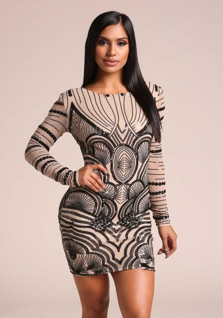 Black and Taupe Sequin Mesh Bodycon Dress