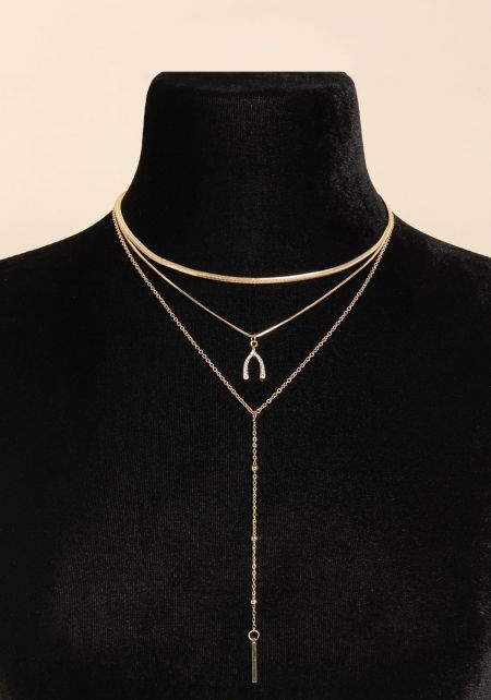 Gold Layered Chain Drop Necklace