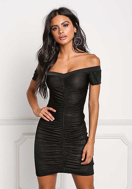 Black Ruched Off Shoulder Bodycon Dress