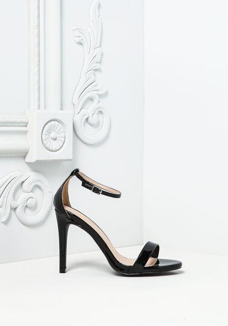 Black Patent Leatherette Ankle Strap Heels
