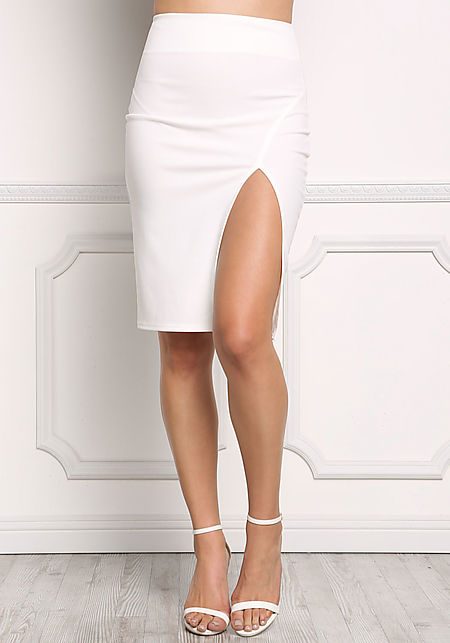 Ivory High Slit Pencil Skirt