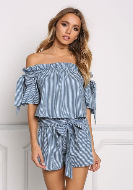Blue Pinstripe Off Shoulder Ruched Crop Top